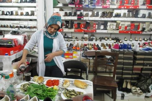 ın a shoe store